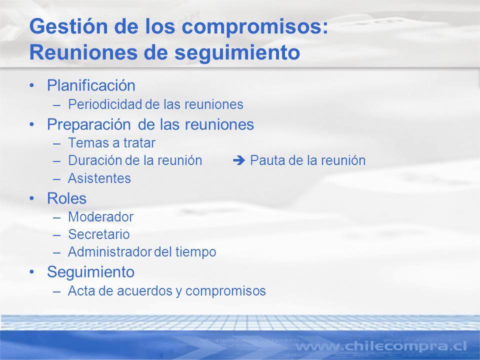 Gestión de los compromisos: Reuniones de seguimiento Planificación –Periodicidad de las reuniones Preparación de las reuniones –Temas a tratar –Duraci