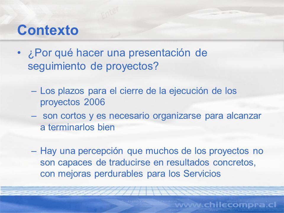 Contexto ¿Por qué hacer una presentación de seguimiento de proyectos? –Los plazos para el cierre de la ejecución de los proyectos 2006 – son cortos y
