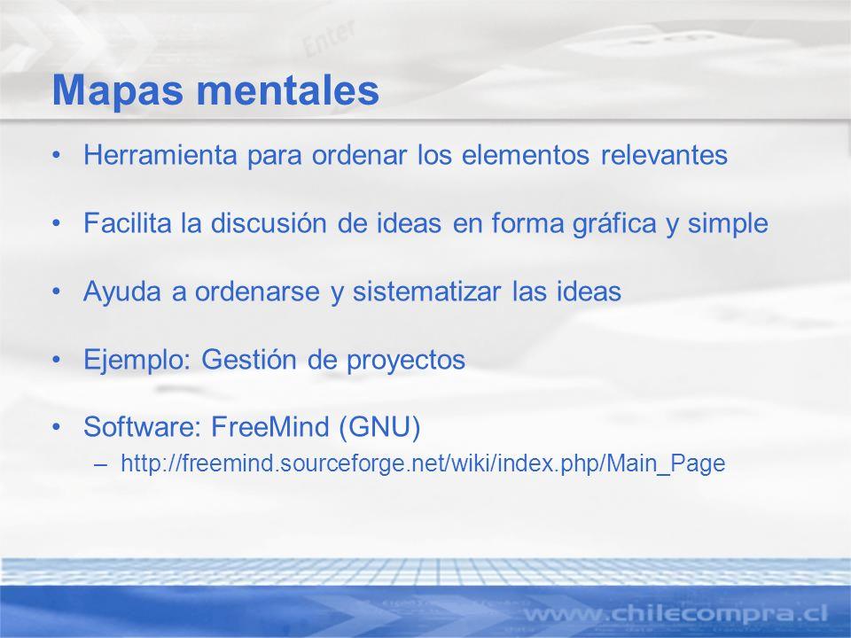 Mapas mentales Herramienta para ordenar los elementos relevantes Facilita la discusión de ideas en forma gráfica y simple Ayuda a ordenarse y sistemat