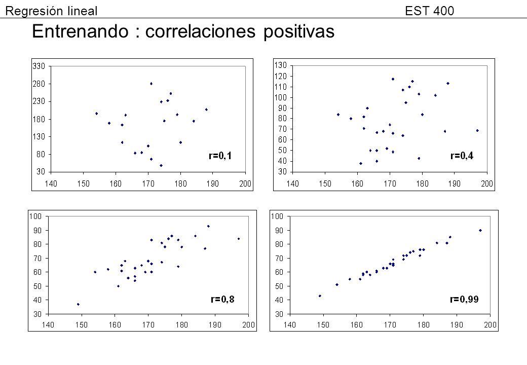 Entrenando : correlaciones positivas Regresión lineal EST 400
