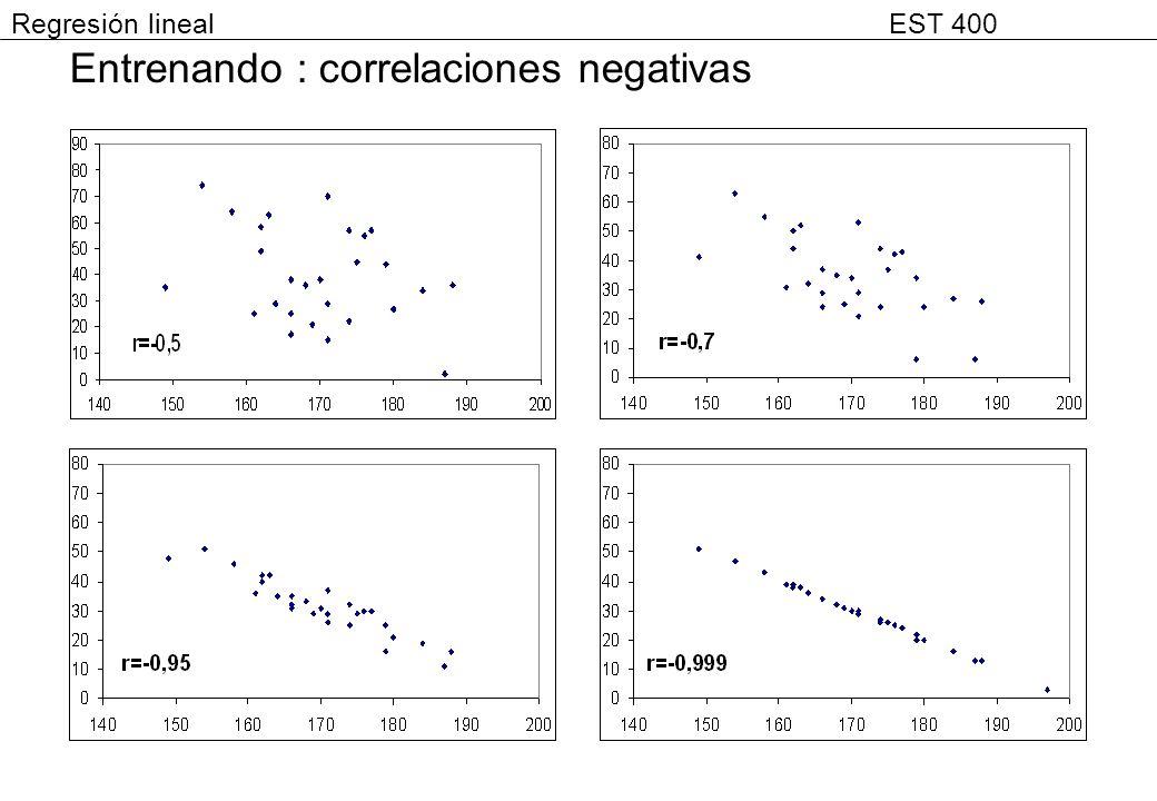 Entrenando : correlaciones negativas Regresión lineal EST 400