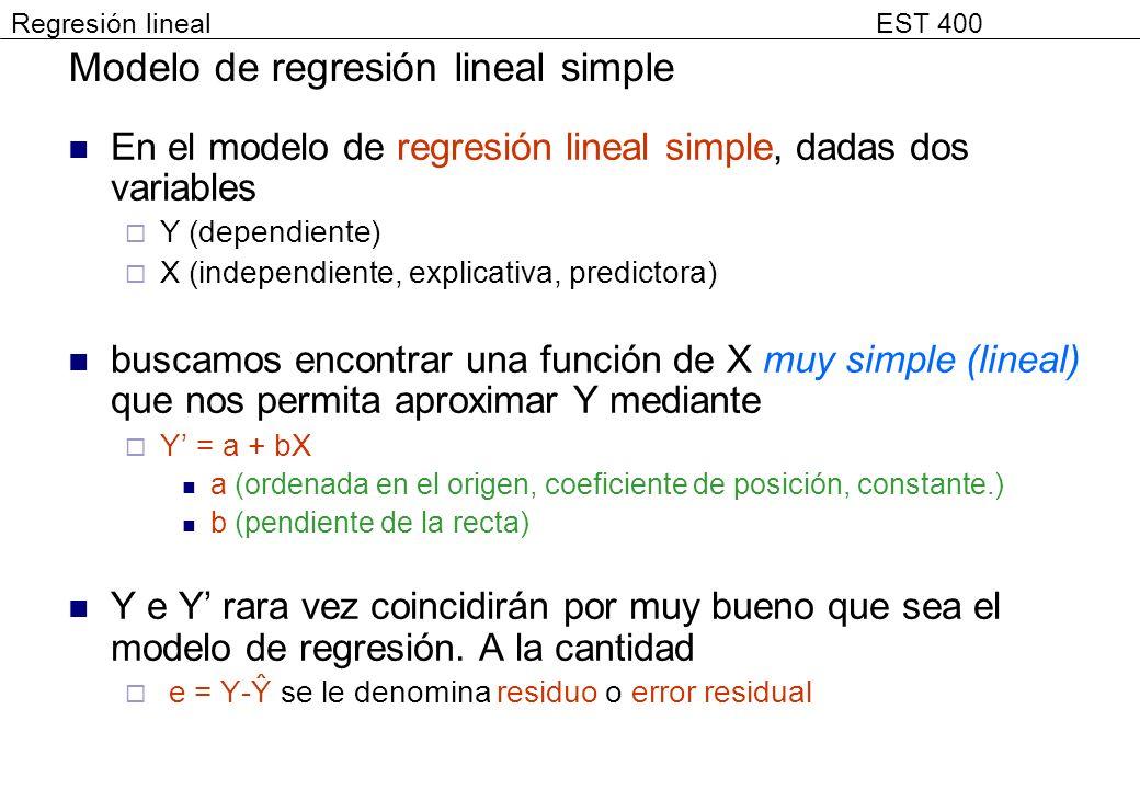 Modelo de regresión lineal simple En el modelo de regresión lineal simple, dadas dos variables Y (dependiente) X (independiente, explicativa, predicto