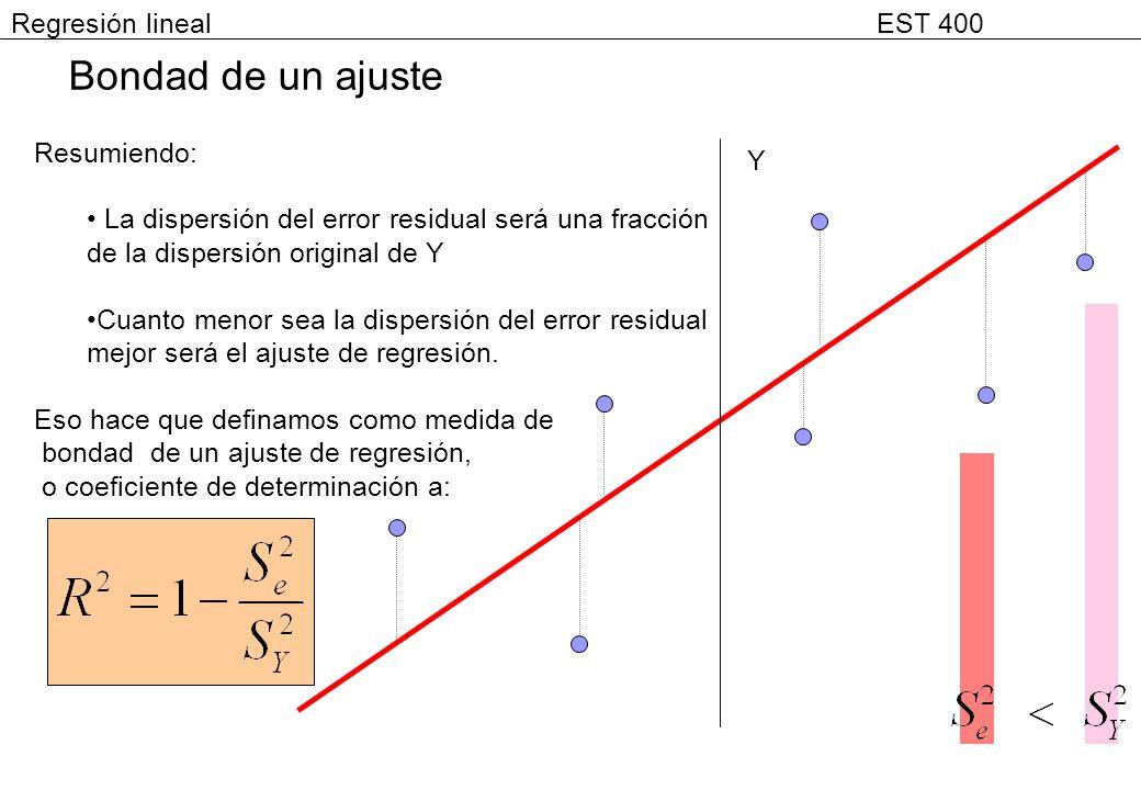Resumiendo: La dispersión del error residual será una fracción de la dispersión original de Y Cuanto menor sea la dispersión del error residual mejor