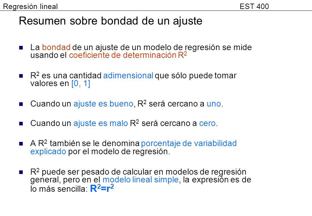 Resumen sobre bondad de un ajuste La bondad de un ajuste de un modelo de regresión se mide usando el coeficiente de determinación R 2 R 2 es una canti