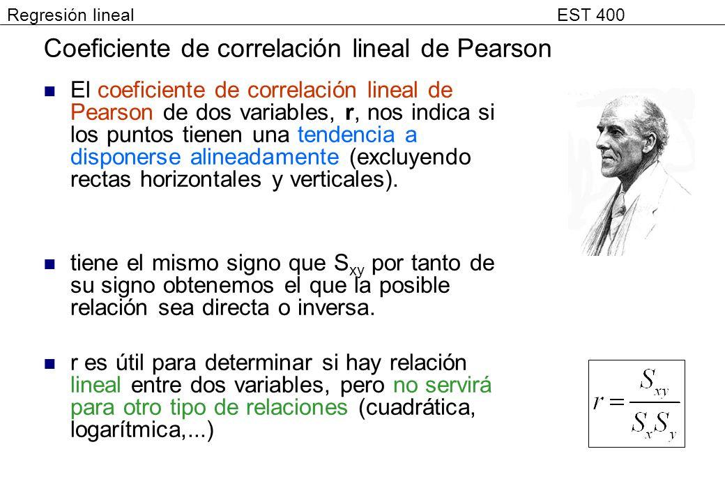 Coeficiente de correlación lineal de Pearson El coeficiente de correlación lineal de Pearson de dos variables, r, nos indica si los puntos tienen una