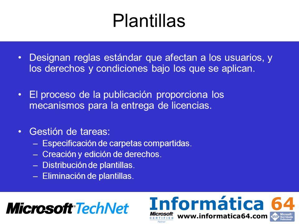 Plantillas Designan reglas estándar que afectan a los usuarios, y los derechos y condiciones bajo los que se aplican.