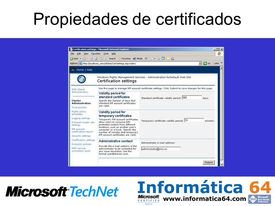 Propiedades de certificados