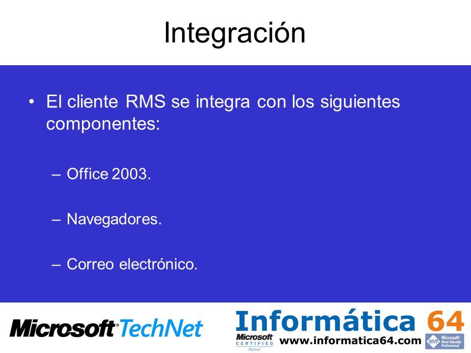 Integración El cliente RMS se integra con los siguientes componentes: –Office 2003. –Navegadores. –Correo electrónico.