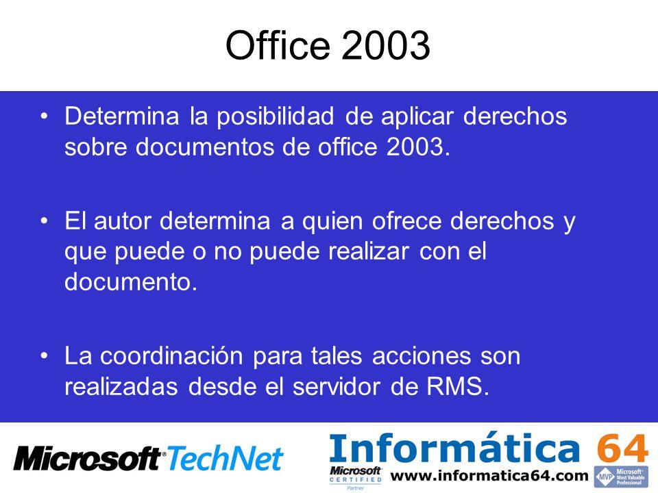 Office 2003 Determina la posibilidad de aplicar derechos sobre documentos de office 2003. El autor determina a quien ofrece derechos y que puede o no