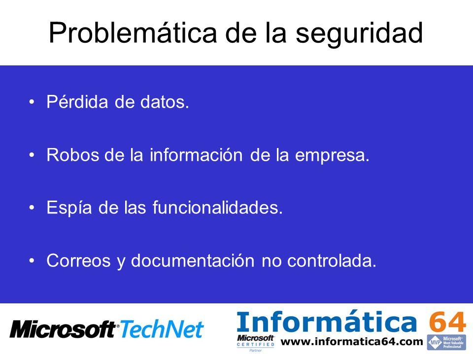 Problemática de la seguridad Pérdida de datos. Robos de la información de la empresa. Espía de las funcionalidades. Correos y documentación no control