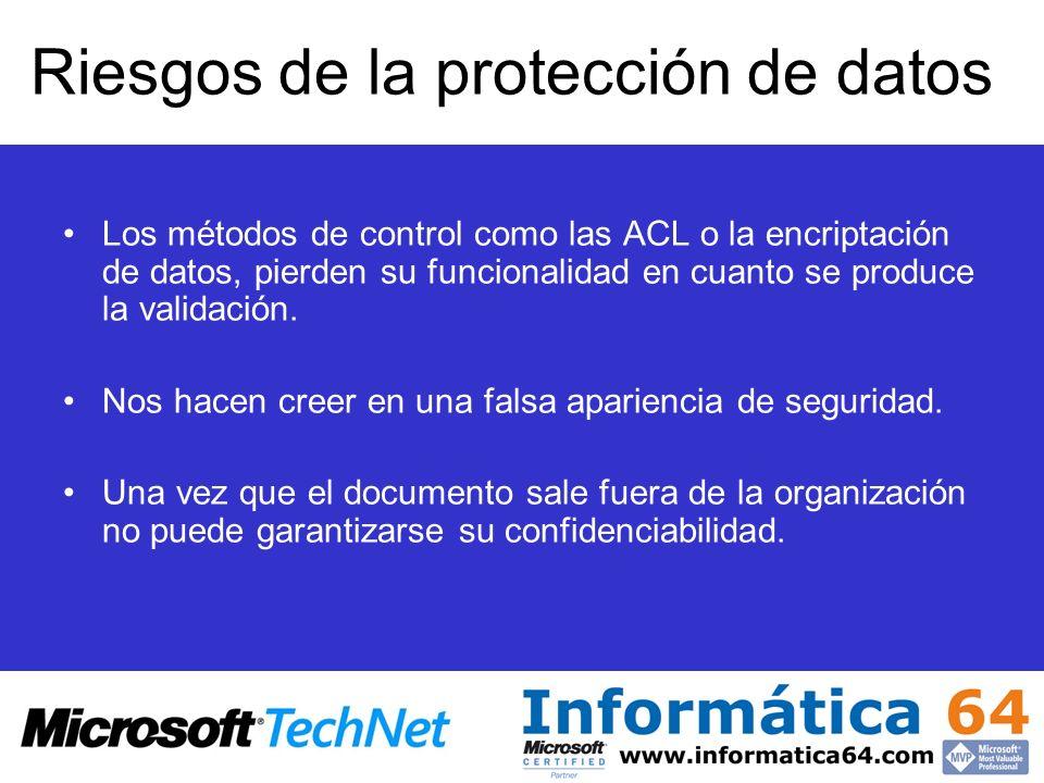 Riesgos de la protección de datos Los métodos de control como las ACL o la encriptación de datos, pierden su funcionalidad en cuanto se produce la validación.