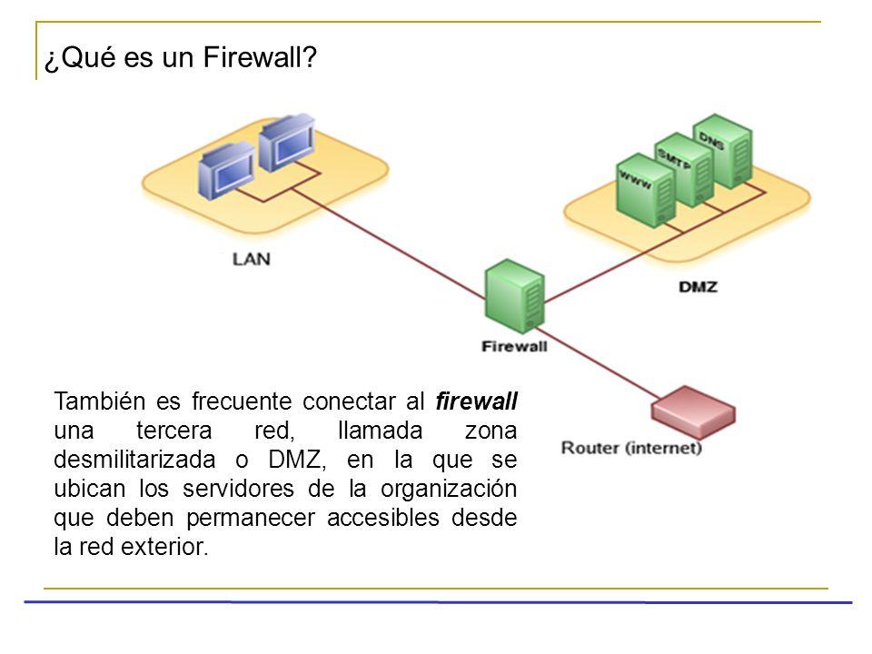 ¿Qué es un Firewall? También es frecuente conectar al firewall una tercera red, llamada zona desmilitarizada o DMZ, en la que se ubican los servidores