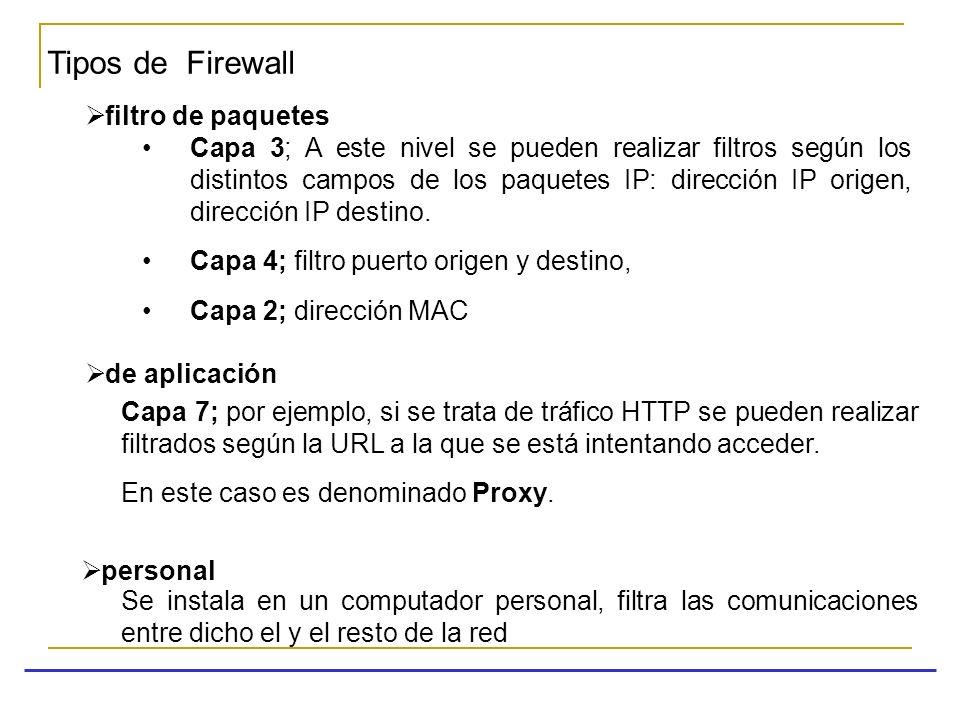Tipos de Firewall filtro de paquetes Capa 3; A este nivel se pueden realizar filtros según los distintos campos de los paquetes IP: dirección IP orige