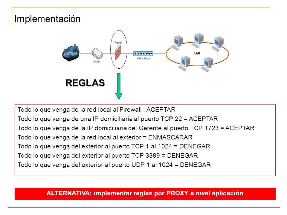 Implementación REGLAS Todo lo que venga de la red local al Firewall : ACEPTAR Todo lo que venga de una IP domiciliaria al puerto TCP 22 = ACEPTAR Todo
