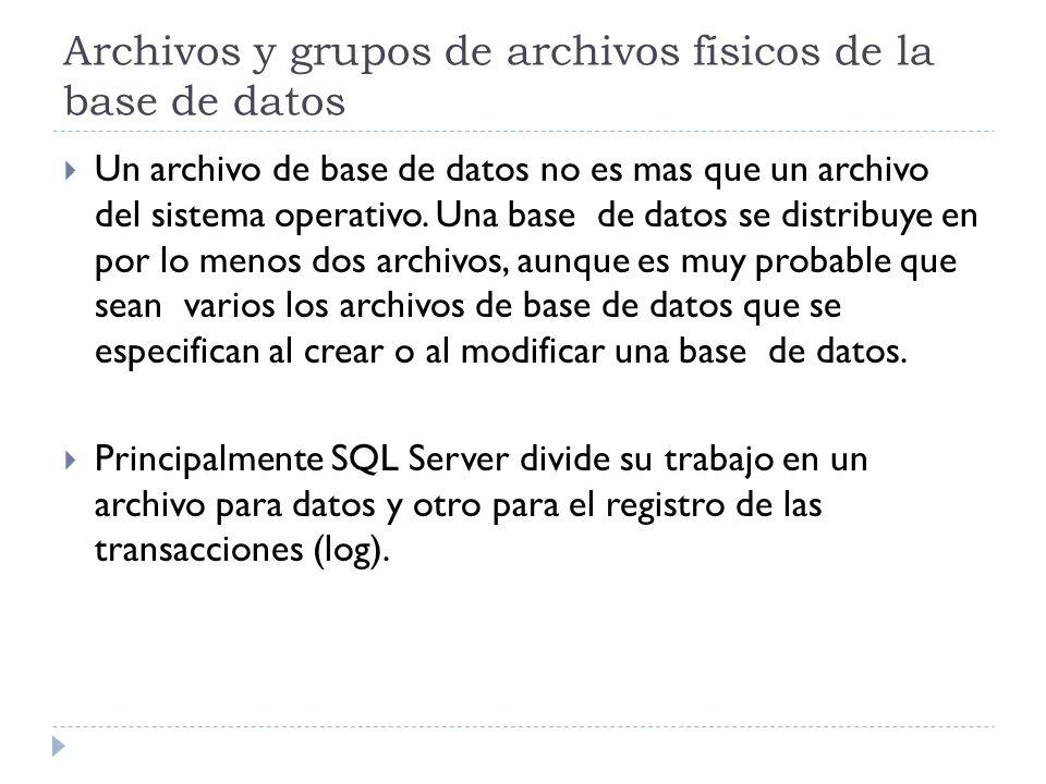 Archivos y grupos de archivos físicos de la base de datos Un archivo de base de datos no es mas que un archivo del sistema operativo. Una base de dato