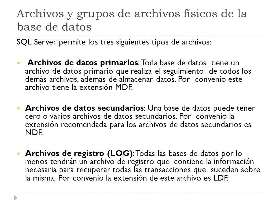 Archivos y grupos de archivos físicos de la base de datos SQL Server permite los tres siguientes tipos de archivos: Archivos de datos primarios: Toda base de datos tiene un archivo de datos primario que realiza el seguimiento de todos los demás archivos, además de almacenar datos.