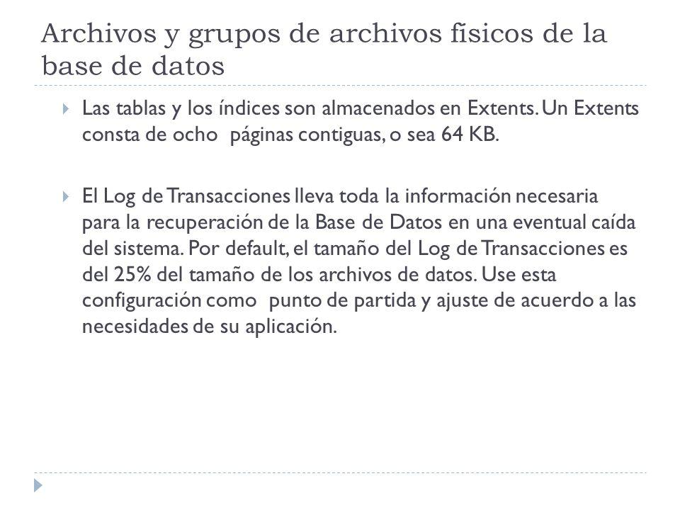 Archivos y grupos de archivos físicos de la base de datos Las tablas y los índices son almacenados en Extents. Un Extents consta de ocho páginas conti