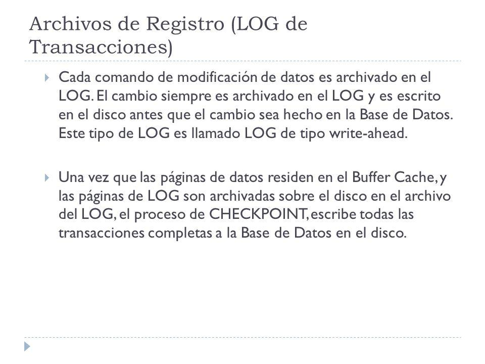 Archivos de Registro (LOG de Transacciones) Cada comando de modificación de datos es archivado en el LOG.