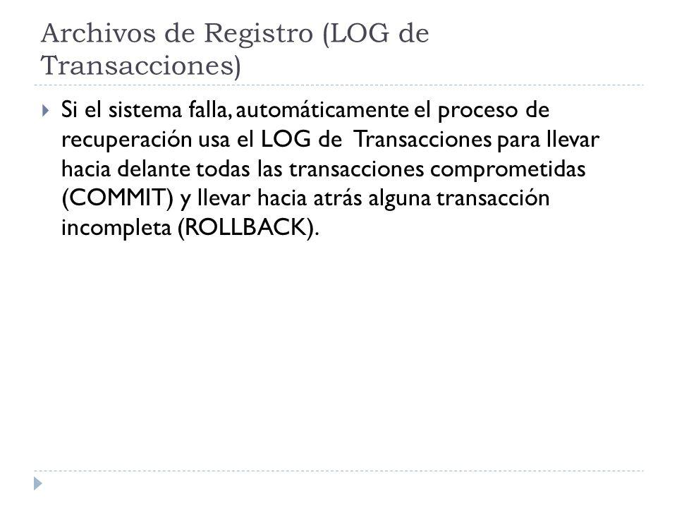 Archivos de Registro (LOG de Transacciones) Si el sistema falla, automáticamente el proceso de recuperación usa el LOG de Transacciones para llevar hacia delante todas las transacciones comprometidas (COMMIT) y llevar hacia atrás alguna transacción incompleta (ROLLBACK).