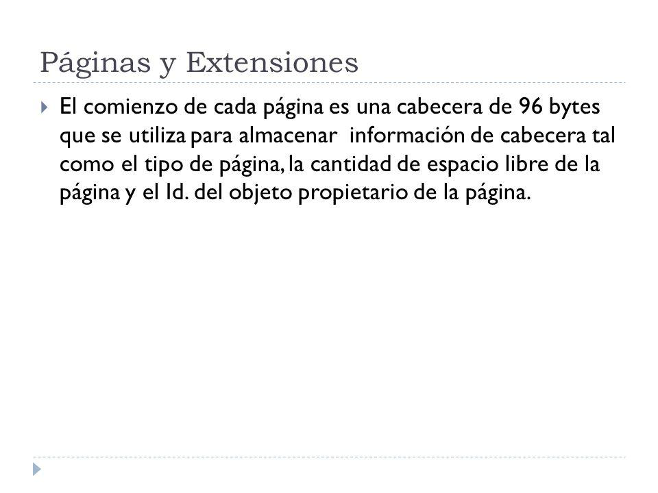 Páginas y Extensiones El comienzo de cada página es una cabecera de 96 bytes que se utiliza para almacenar información de cabecera tal como el tipo de página, la cantidad de espacio libre de la página y el Id.