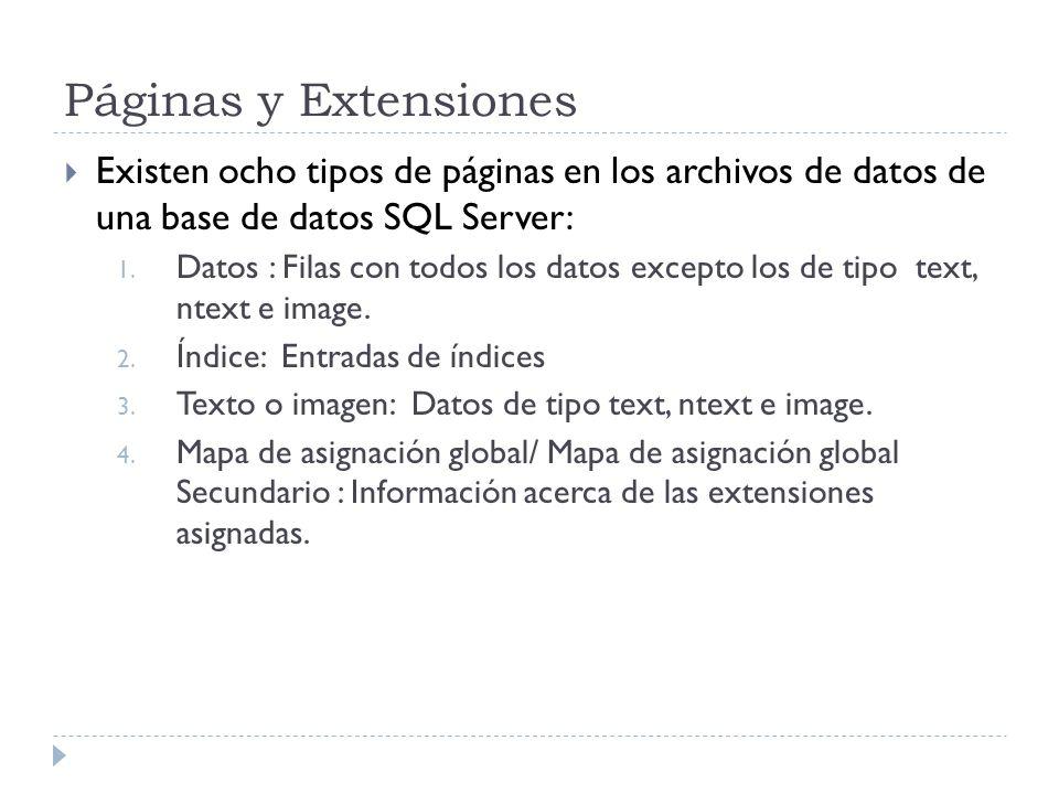 Páginas y Extensiones Existen ocho tipos de páginas en los archivos de datos de una base de datos SQL Server: 1. Datos : Filas con todos los datos exc