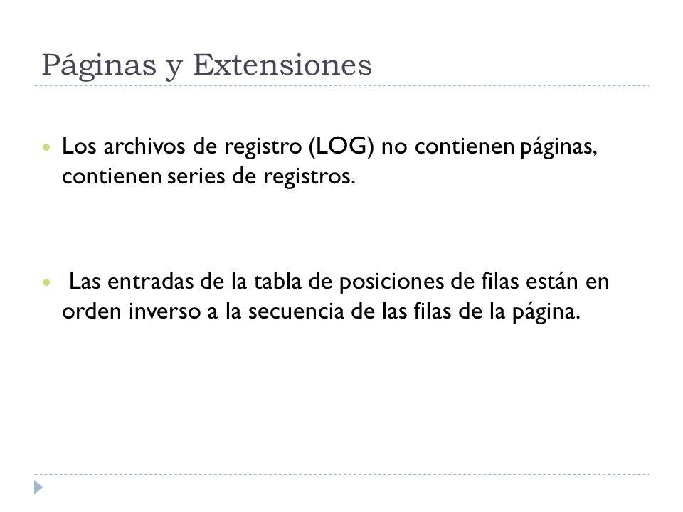 Páginas y Extensiones Los archivos de registro (LOG) no contienen páginas, contienen series de registros. Las entradas de la tabla de posiciones de fi