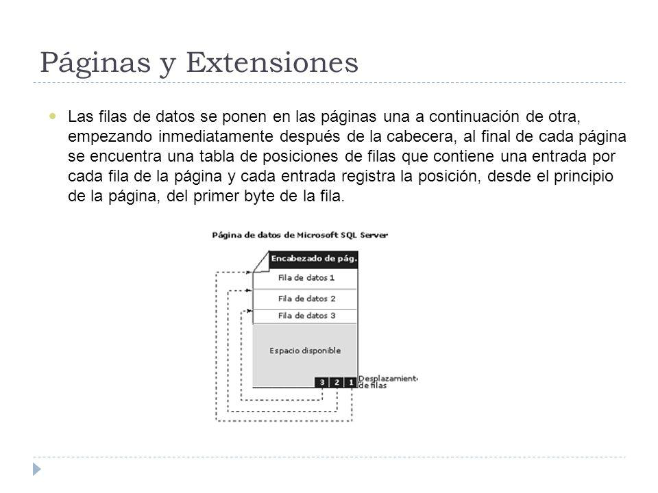 Páginas y Extensiones Las filas de datos se ponen en las páginas una a continuación de otra, empezando inmediatamente después de la cabecera, al final de cada página se encuentra una tabla de posiciones de filas que contiene una entrada por cada fila de la página y cada entrada registra la posición, desde el principio de la página, del primer byte de la fila.