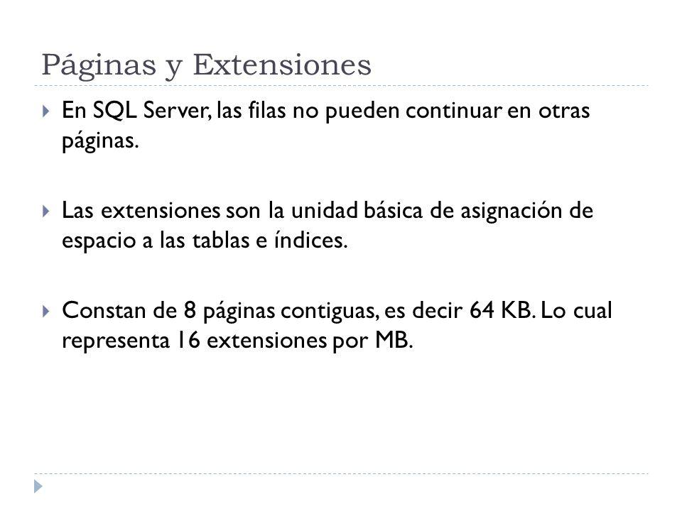 Páginas y Extensiones En SQL Server, las filas no pueden continuar en otras páginas. Las extensiones son la unidad básica de asignación de espacio a l