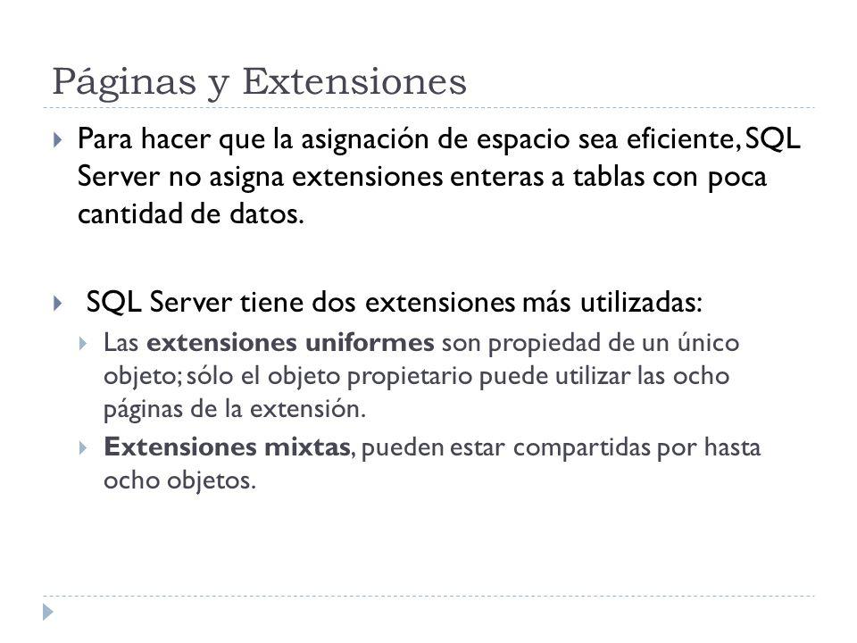 Páginas y Extensiones Para hacer que la asignación de espacio sea eficiente, SQL Server no asigna extensiones enteras a tablas con poca cantidad de da