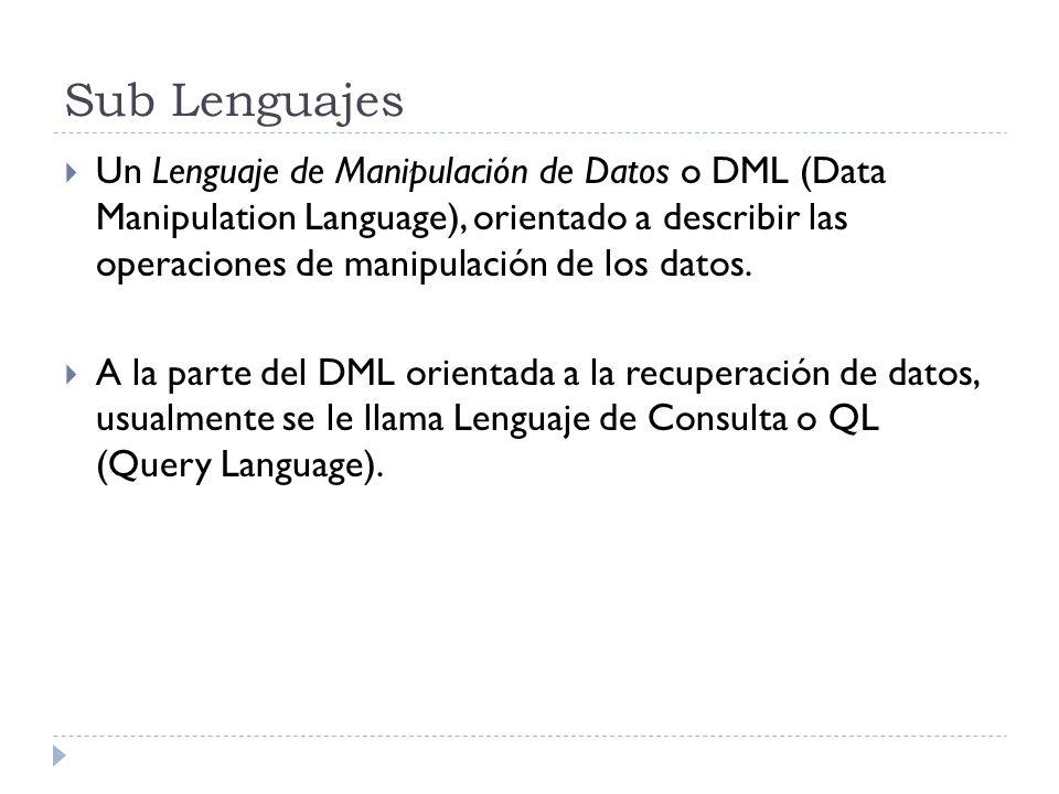 Sub Lenguajes Un Lenguaje de Manipulación de Datos o DML (Data Manipulation Language), orientado a describir las operaciones de manipulación de los da