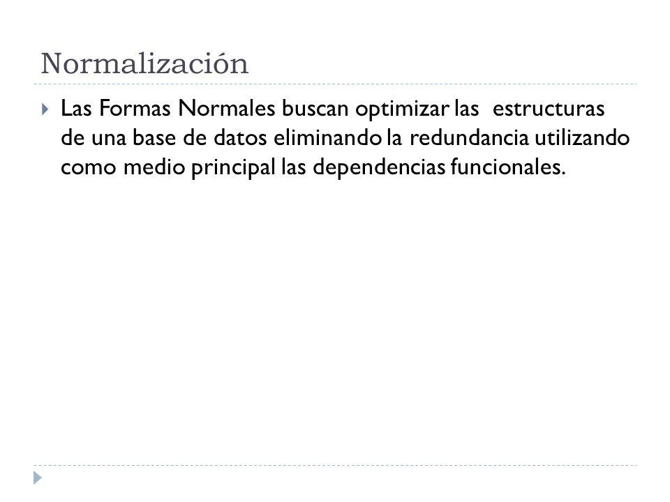 Normalización Las Formas Normales buscan optimizar las estructuras de una base de datos eliminando la redundancia utilizando como medio principal las