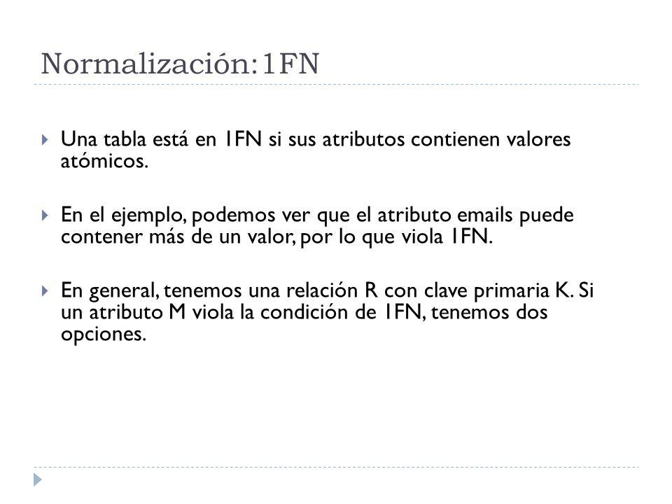Normalización:1FN Una tabla está en 1FN si sus atributos contienen valores atómicos. En el ejemplo, podemos ver que el atributo emails puede contener