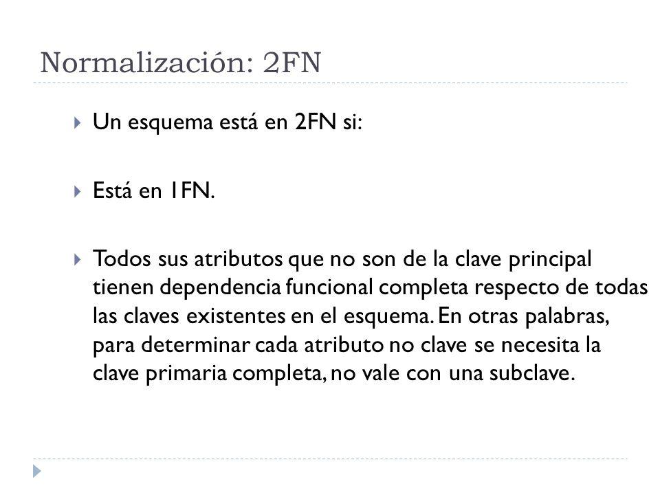 Normalización: 2FN Un esquema está en 2FN si: Está en 1FN. Todos sus atributos que no son de la clave principal tienen dependencia funcional completa