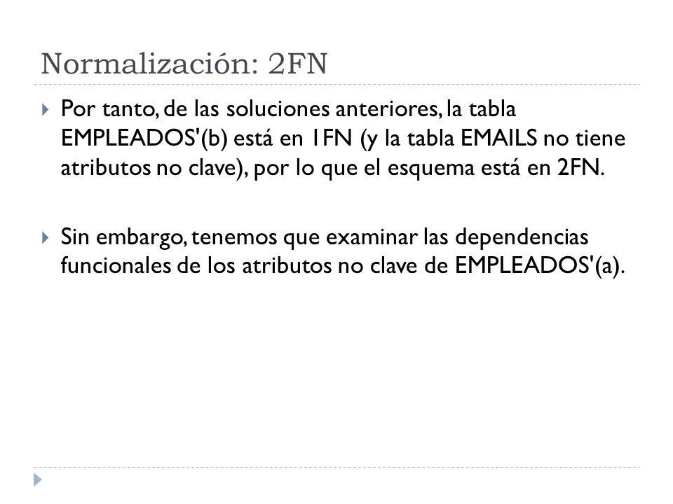 Normalización: 2FN Por tanto, de las soluciones anteriores, la tabla EMPLEADOS'(b) está en 1FN (y la tabla EMAILS no tiene atributos no clave), por lo