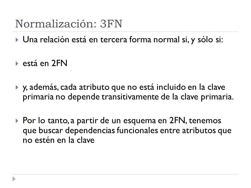 Normalización: 3FN Una relación está en tercera forma normal si, y sólo si: está en 2FN y, además, cada atributo que no está incluido en la clave prim