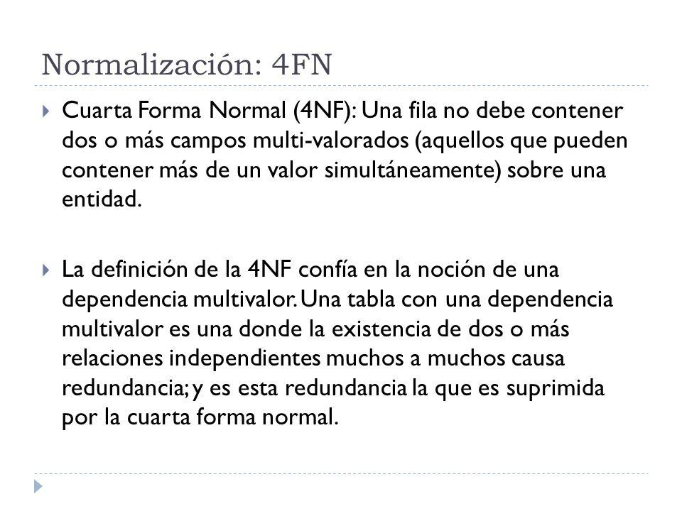 Normalización: 4FN Cuarta Forma Normal (4NF): Una fila no debe contener dos o más campos multi-valorados (aquellos que pueden contener más de un valor