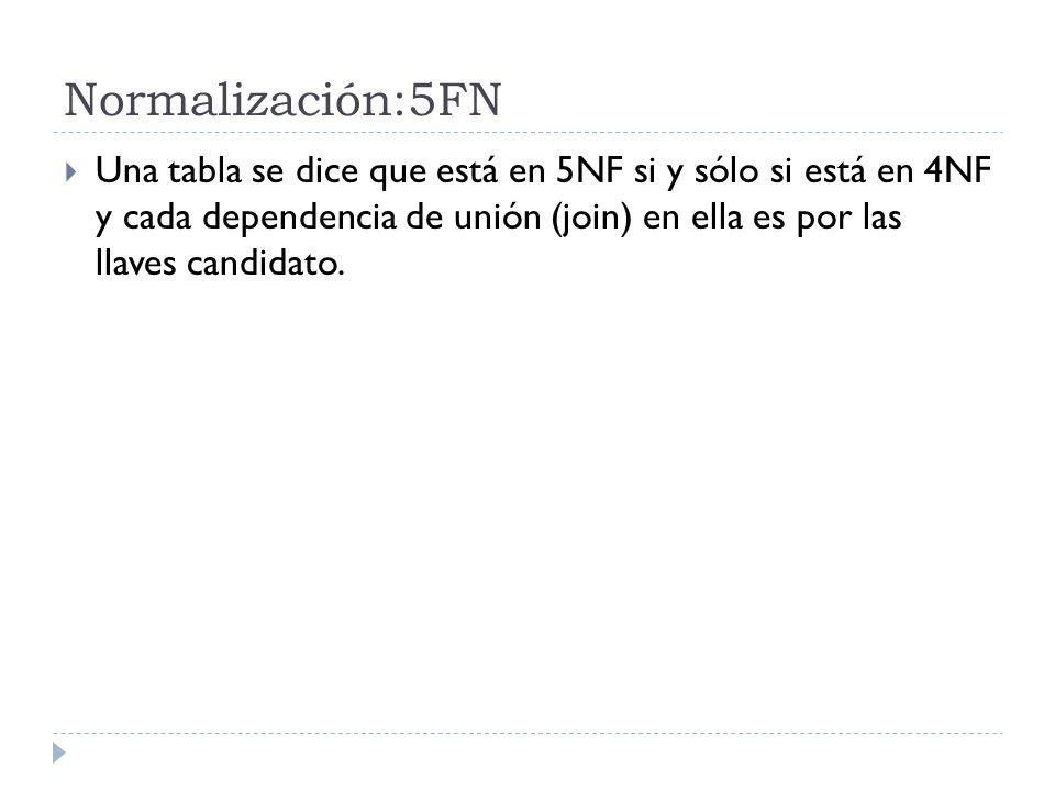 Normalización:5FN Una tabla se dice que está en 5NF si y sólo si está en 4NF y cada dependencia de unión (join) en ella es por las llaves candidato.