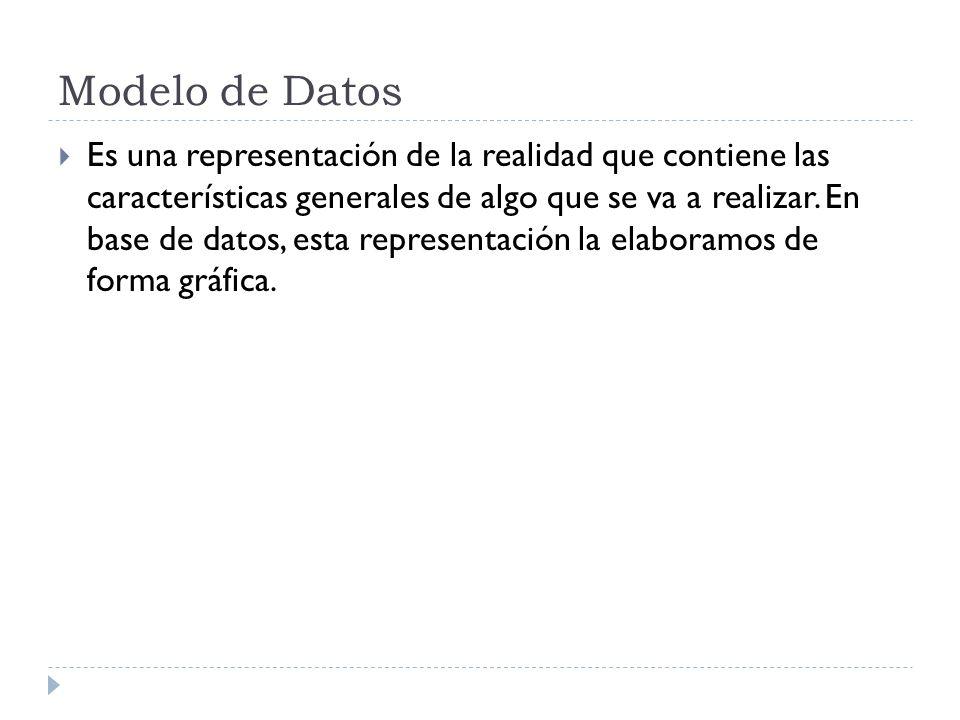 Modelo de Datos Es una colección de herramientas conceptuales para describir los datos, las relaciones que existen entre ellos, semántica asociada a los datos y restricciones de consistencia.