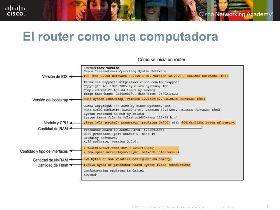 10 © 2007 Cisco Systems, Inc. Todos los derechos reservados.Cisco Public El router como una computadora