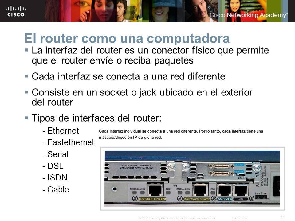11 © 2007 Cisco Systems, Inc. Todos los derechos reservados.Cisco Public El router como una computadora La interfaz del router es un conector físico q
