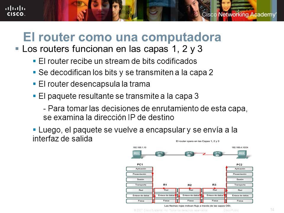 14 © 2007 Cisco Systems, Inc. Todos los derechos reservados.Cisco Public El router como una computadora Los routers funcionan en las capas 1, 2 y 3 El