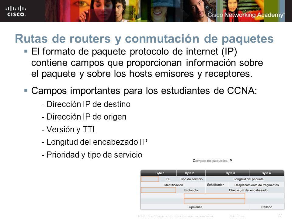 27 © 2007 Cisco Systems, Inc. Todos los derechos reservados.Cisco Public Rutas de routers y conmutación de paquetes El formato de paquete protocolo de