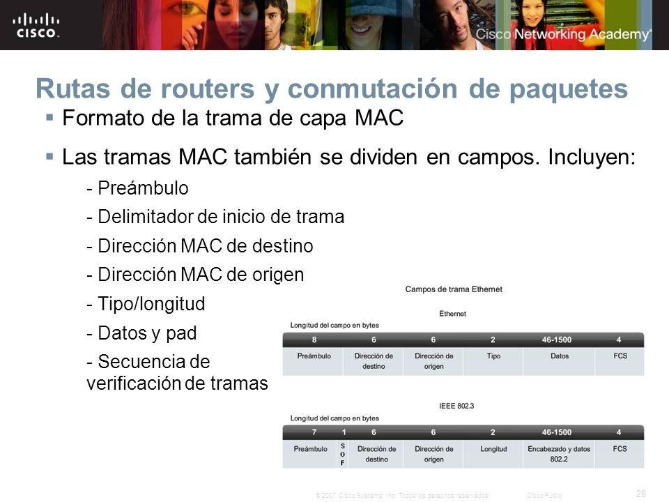 28 © 2007 Cisco Systems, Inc. Todos los derechos reservados.Cisco Public Rutas de routers y conmutación de paquetes Formato de la trama de capa MAC La