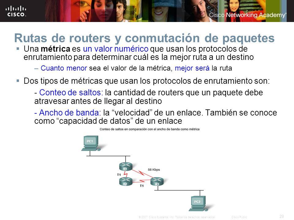 29 © 2007 Cisco Systems, Inc. Todos los derechos reservados.Cisco Public Rutas de routers y conmutación de paquetes Una métrica es un valor numérico q