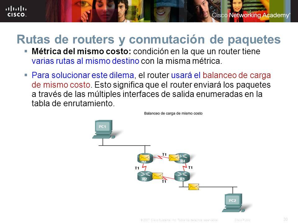 30 © 2007 Cisco Systems, Inc. Todos los derechos reservados.Cisco Public Rutas de routers y conmutación de paquetes Métrica del mismo costo: condición