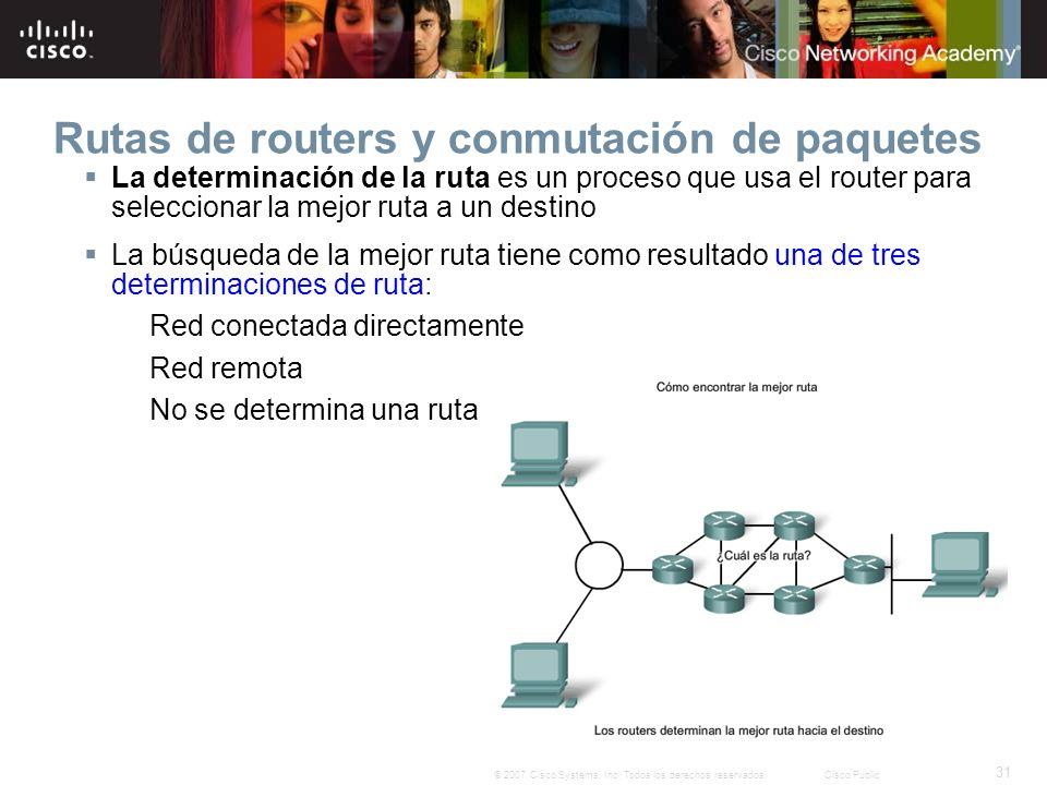 31 © 2007 Cisco Systems, Inc. Todos los derechos reservados.Cisco Public Rutas de routers y conmutación de paquetes La determinación de la ruta es un