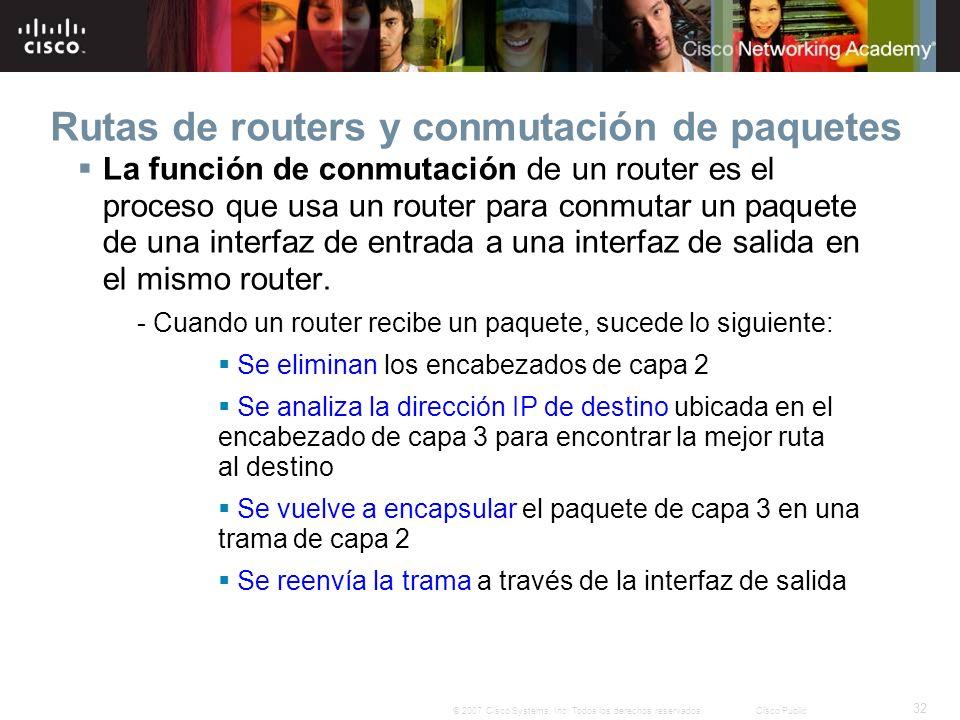 32 © 2007 Cisco Systems, Inc. Todos los derechos reservados.Cisco Public Rutas de routers y conmutación de paquetes La función de conmutación de un ro