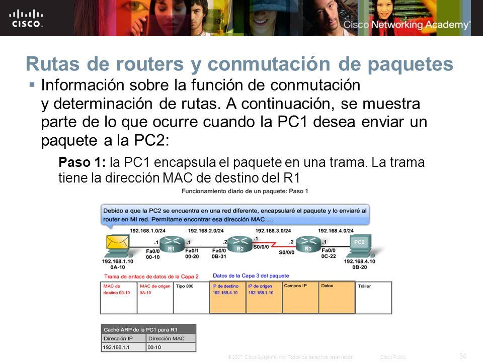 34 © 2007 Cisco Systems, Inc. Todos los derechos reservados.Cisco Public Rutas de routers y conmutación de paquetes Información sobre la función de co