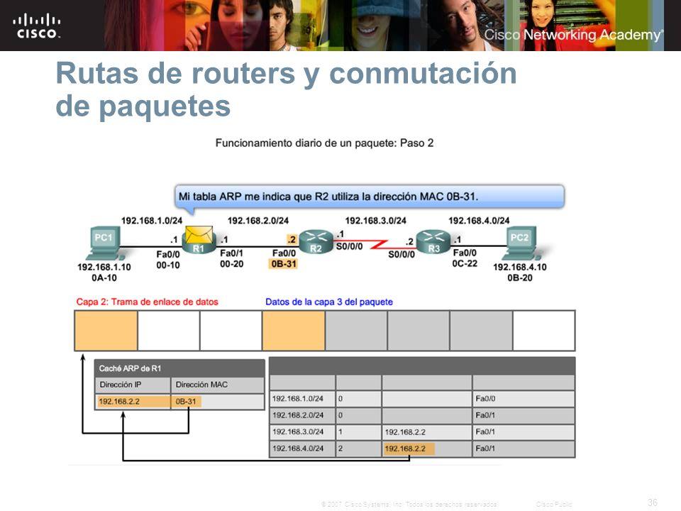 36 © 2007 Cisco Systems, Inc. Todos los derechos reservados.Cisco Public Rutas de routers y conmutación de paquetes