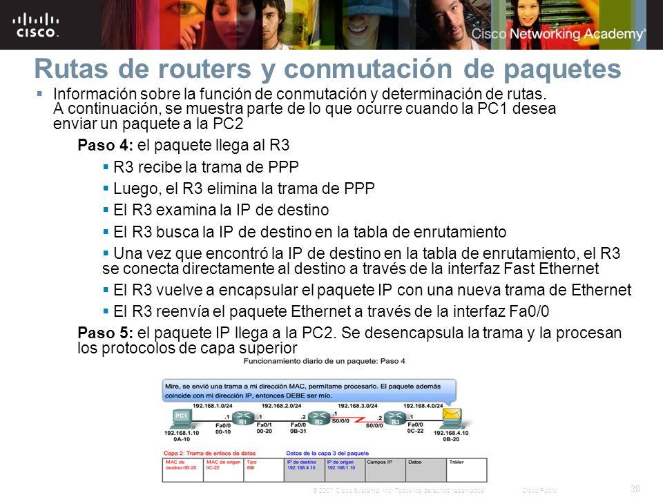 38 © 2007 Cisco Systems, Inc. Todos los derechos reservados.Cisco Public Rutas de routers y conmutación de paquetes Información sobre la función de co
